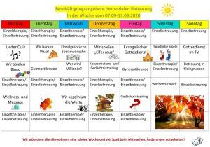 Beschäftigungsplan der sozialen Betreuung 07.09._