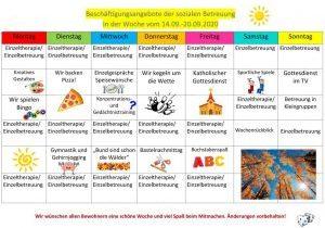 Beschäftigungsplan der sozialen Betreuung 14.09.20
